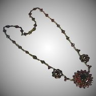 Magnificent Czech Republic Bohemian Genuine Rose Cut Garnet Festoon Necklace