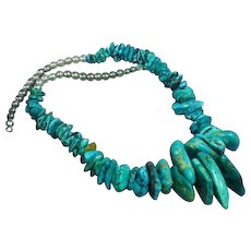 Magnificent Massive Museum Quality Native American Indian Natural Turquoise Nugget Sterling Silver Navajo Pearl Necklace