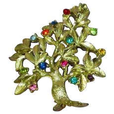 Dodds Signed Designer Tree of Life Figural Gorgeous Rhinestones Estate Brooch Pin