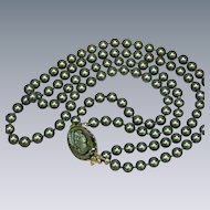 Gorgeous Vintage Double Strand Hand Knotted Black Glass Pearl Necklace Cameo Pin Clasp Detaches