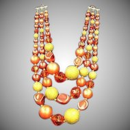 Oranges and Cream Yumm Bead Triple Strand Big Beads Japan Necklace