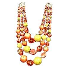 Oranges and Cream Yumm Bead Triple Strand Big Beads Japan Necklace