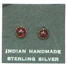 FREE SHIP ALL LISTINGS Native American Indian Vintage Sterling Silver Garnet Stud Pierced Earrings