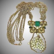 FREE SHIP ALL ITEMS Freirich Signed Designer Spectacular Multi Chain Pearls Chrysophase Pendant Necklace