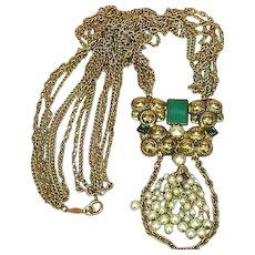 Freirich Signed Designer Spectacular Multi Chain Pearls Chrysophase Pendant Necklace