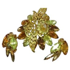D&E Quality Rhinestone Dimensional Brooch  Earrings Set Demi Parure