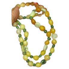 Incredible Vintage Jade Mix Beads Carved Jade Bead  Multi Color Mix Sizes Necklace