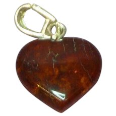 Amber Honey Cognac Dangle Sterling Silver Heart Pendant