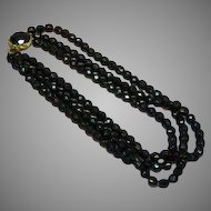Magnificent Faceted Black  Glass Triple Strand Beaded Necklace