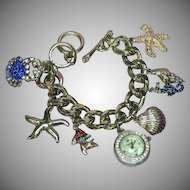 FREE SHIP ALL ITEMS  Sea Theme Rhodium Plate NOS Large Rhinestones Watch Charm Bracelet