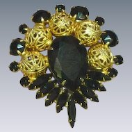 Juliana Deliza and Elster D&E Black Rhinestones Filigree Balls Large Brooch Pin