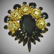 Juliana Deliza and Elster D&E Black Rhinestones Filigree Balls Large Brooch Pin