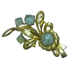 Mazer Bros. Signed Designer Venitian Art Glass Gold-plated Pin Brooch