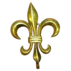 12 kt Signed Gold Filled Fleur-de-Lis Watch or Fob Pin