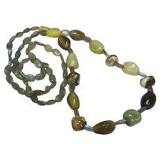 Labradorite Agate Polished Shell OOAK One of a Kind Single Strand Gemstones Designer Necklace