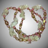 Opaline Opalite Glass Spectacular Vintage Pinks Rose Quartz Swarovski Crystal Designer Necklace