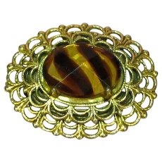 Freirich Signed Designer Antiqued Gold-tone Art Glass Stone Pin Brooch