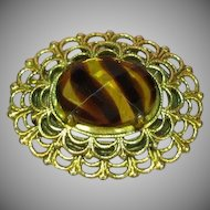 FREE SHIP ALL ITEMS  Freirich Signed Designer Antiqued Gold-tone Art Glass Stone Pin Brooch