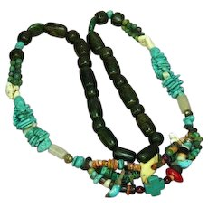 Incredible Chunky Turquoise Coral Agate Bead  Multi Color Carved Fetish Mix Beads Necklace