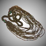 FREE SHIP ALL ITEMS Beaded Seed Beads Coppery Bronze Fabulous Multi-Strand Necklace