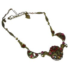 Western Germany Rhinestones In Shades of Red and Red A/B Brass Filigree Necklace