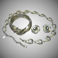 Monet Iconic Classic Dimensional Impressive Necklace Bracelet Earrings Silver tone Set Full Parure