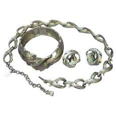 Monet Iconic Classic Dimensional Impressive Necklace Bracelet Earrings Silver tone Set Full Parure