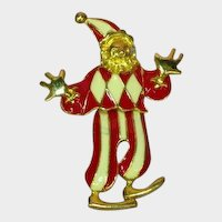 Enamel Articulated Dancing Clown Jester Pin Brooch