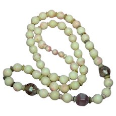 Pink Brazilian Agate Shell and Inlaid Lavender Abalone Beads  Necklace