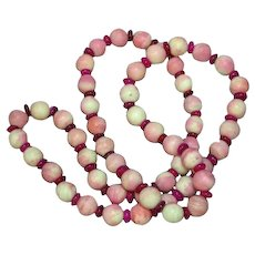 Pink Brazilian Agate & Pink Mother of Pearl MOP Beads Necklace