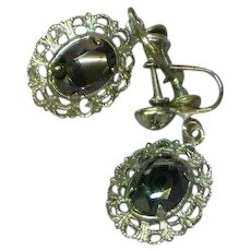 Vintage Sterling Silver Faceted Hematite Filigree Screw Back Earrings