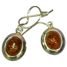 Russian  Baltic Amber Cabochon and Sterling Silver Pierced Dangle Earrings