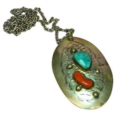 Native American Indian Coral and Turquoise Sterling Silver Large Necklace Pendant
