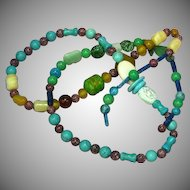 FREE SHIP ALL ITEMS Art Glass Turquoise Lapis Long Gemstones Trade Beads Necklace