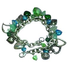 Hearts and Hearts with Swarovski Crystals Glass Sparkling Jade Hearts and Beads Charm Bracelet