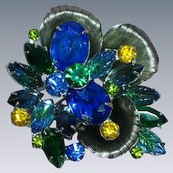 Juliana DeLizza &  Elster Rhinestone Beautiful Blues Rhodium Plate Vintage Abstract Couture Pin Brooch