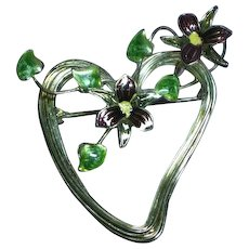 Enamel Hand Made Wire Witches Heart Flowers Pin Brooch