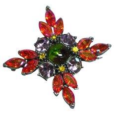 Gerald Yosca Signed Designer Rhinestones Star Bright Glorious Pin Brooch
