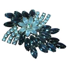 Extra Large Blue Givre Satin Glass Rhinestone Flower Pin Brooch