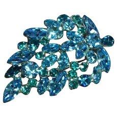 Regency Signed Designer Teal Blue Rhinestones Sensational Large Pin Brooch