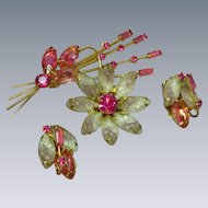 Juliana D&E Molded Rhinestone Flower Brooch Pin Earrings Demi Parure