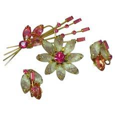 Juliana D&E Molded Rhinestone Flower Brooch Pin Earrings Demi Parure