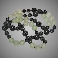 Art Deco Hand Knotted Black Jade Carved Onyx Satinized Rock Crystal Endless Necklace