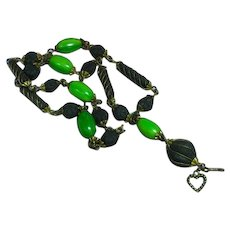 FREE SHIP ALL ITEMS Vintage Skhab Scented Bead Green-Yellow Bakelite Bead Long Necklace