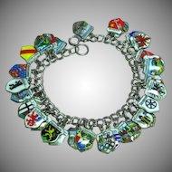 Fabulous Traveler Souvenir Enamel City Shield Charms Germany Vintage Bracelet