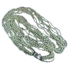 Freshwater Rice Pearls Seven Strand Knotted Sterling Clasp Torsade Necklace