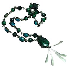 Native American Indian Signed Designer Malachite Sterling Silver Turquoise Necklace
