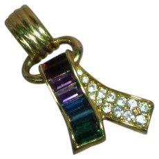 Swarovski Signed Swan Baguette Rhinestone  Necklace Pendant
