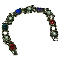 Vibrant Jewel Color Cabochon Antiqued Gold Tone  Vintage Bracelet
