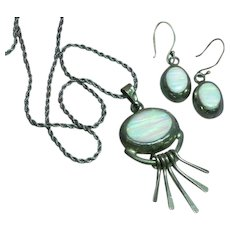 Beautiful  Hand Crafted Sterling Silver Opal Pendant Earrings Set